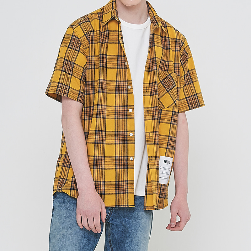 [엘리오티] Ellioti Half Check shirts_Yellow