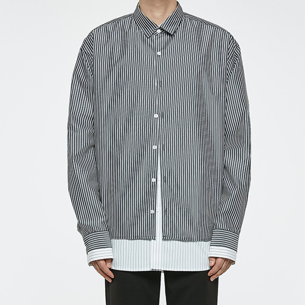 [오엑스스튜디오]Oversize Layered Shirts BLACK