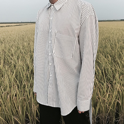 [4BLESS] Unbalance Stripe 2way Shirts White