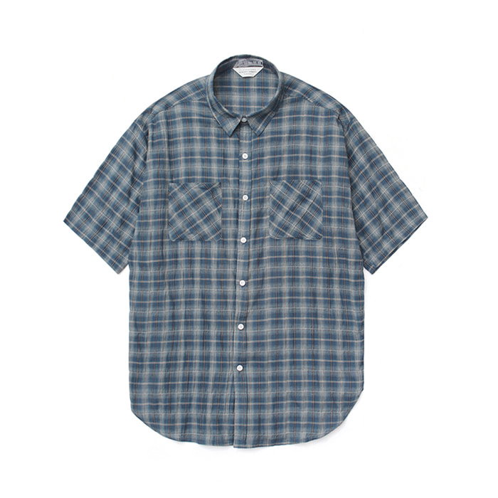 [라퍼지스토어]Linen Ombre Check Shirt_Navy