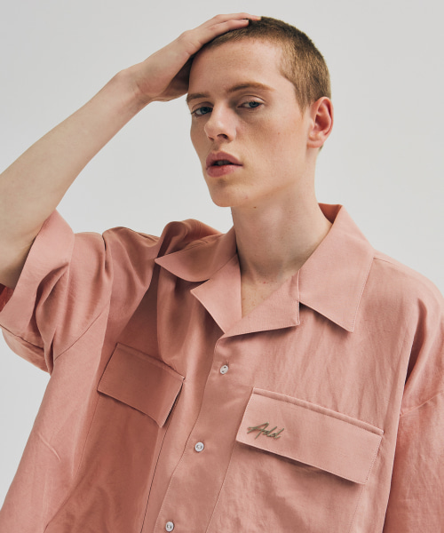 [에드]OVERSIZED POCKET LINEN SHIRTS PINK BEIGE