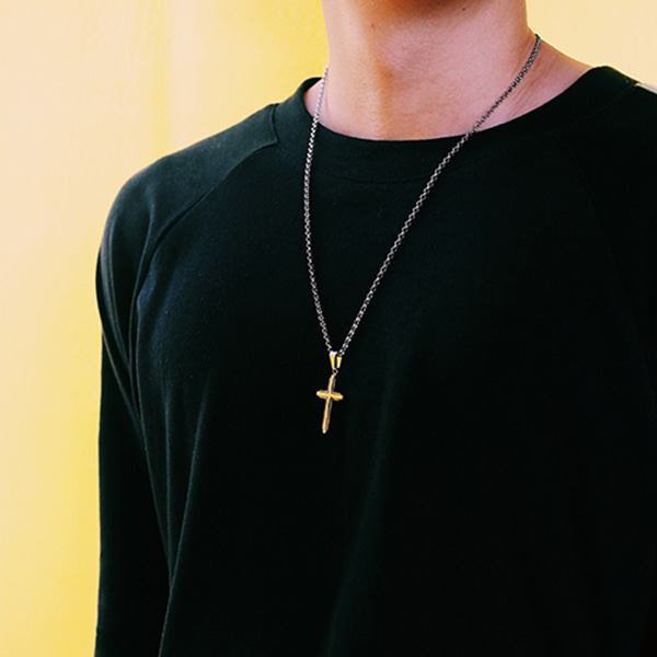 [하와] Antique cross necklace