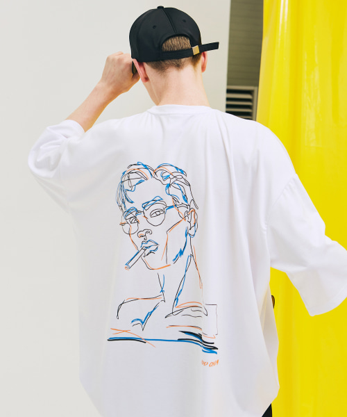 [에드]CIGARETTE DRAWING T SHIRTS WHITE