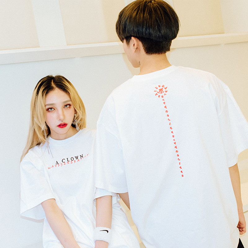 [A.Clown(에이클라운)]Wave Lettering Half-Tee WHITE