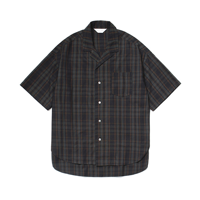 [라퍼지스토어]Over Wide 1/2 Check Shirt