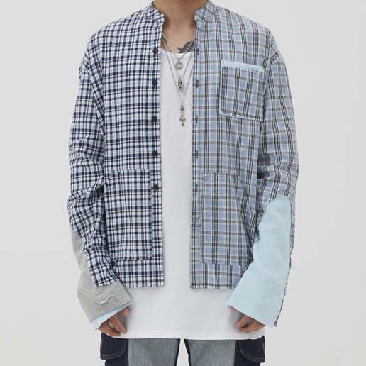 [이노반트]unbalance check shirt (skyblue)