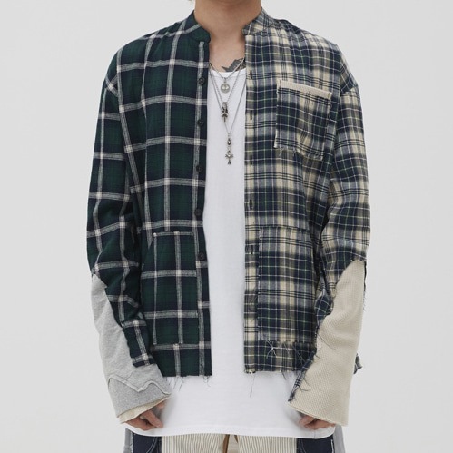 [이노반트]unbalance check shirt (green)
