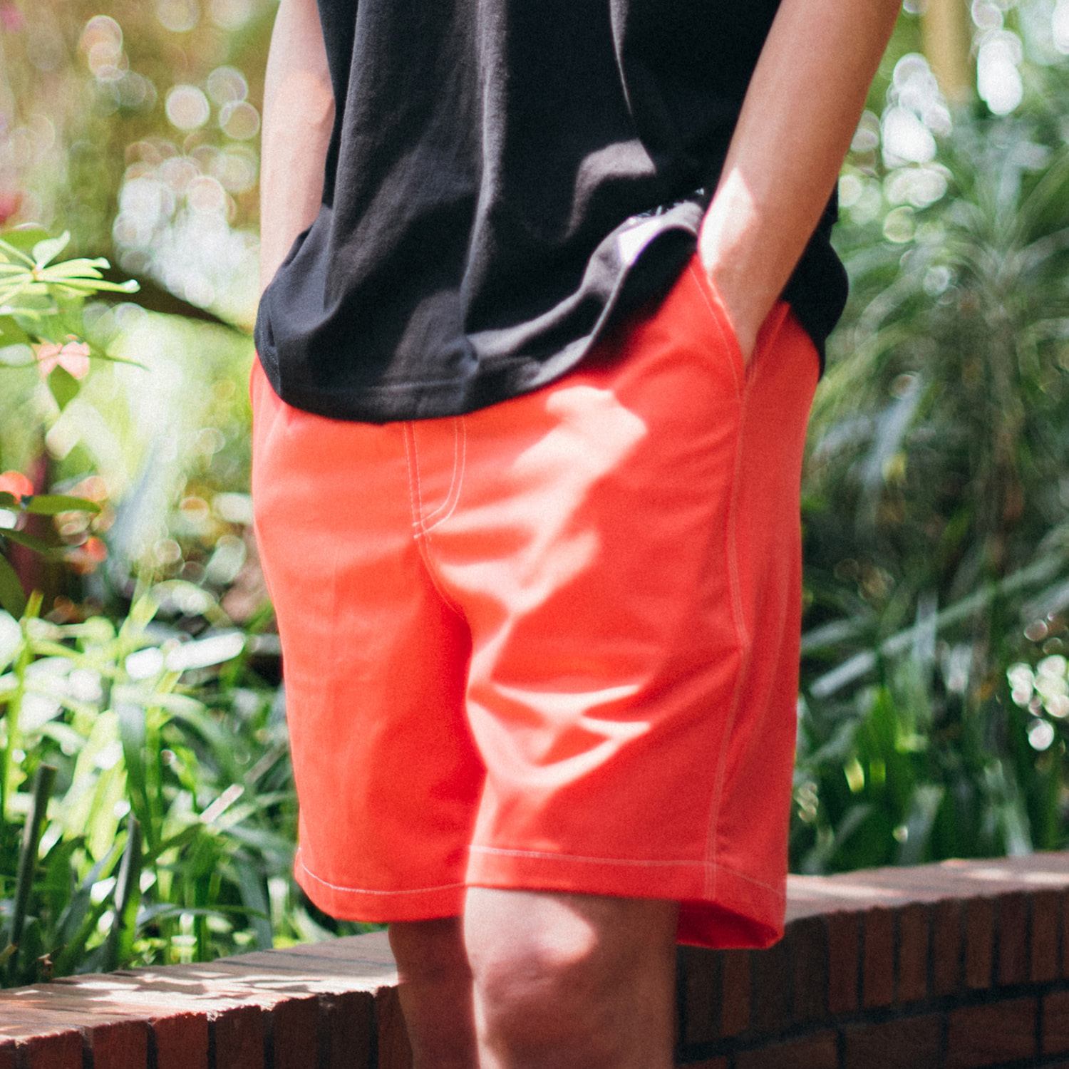 [콘보이]Cotton band half pants orange