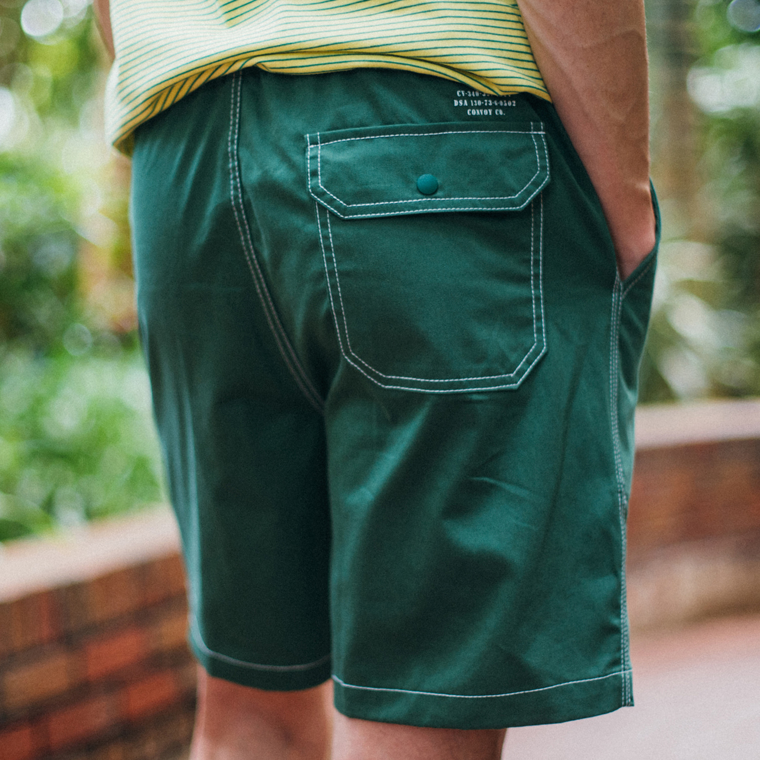 [콘보이]Cotton band half pants green