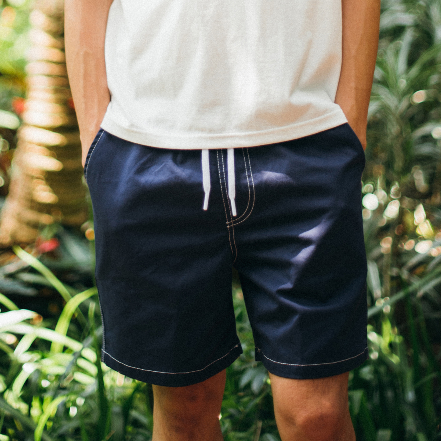 [콘보이]Cotton band half pants navy