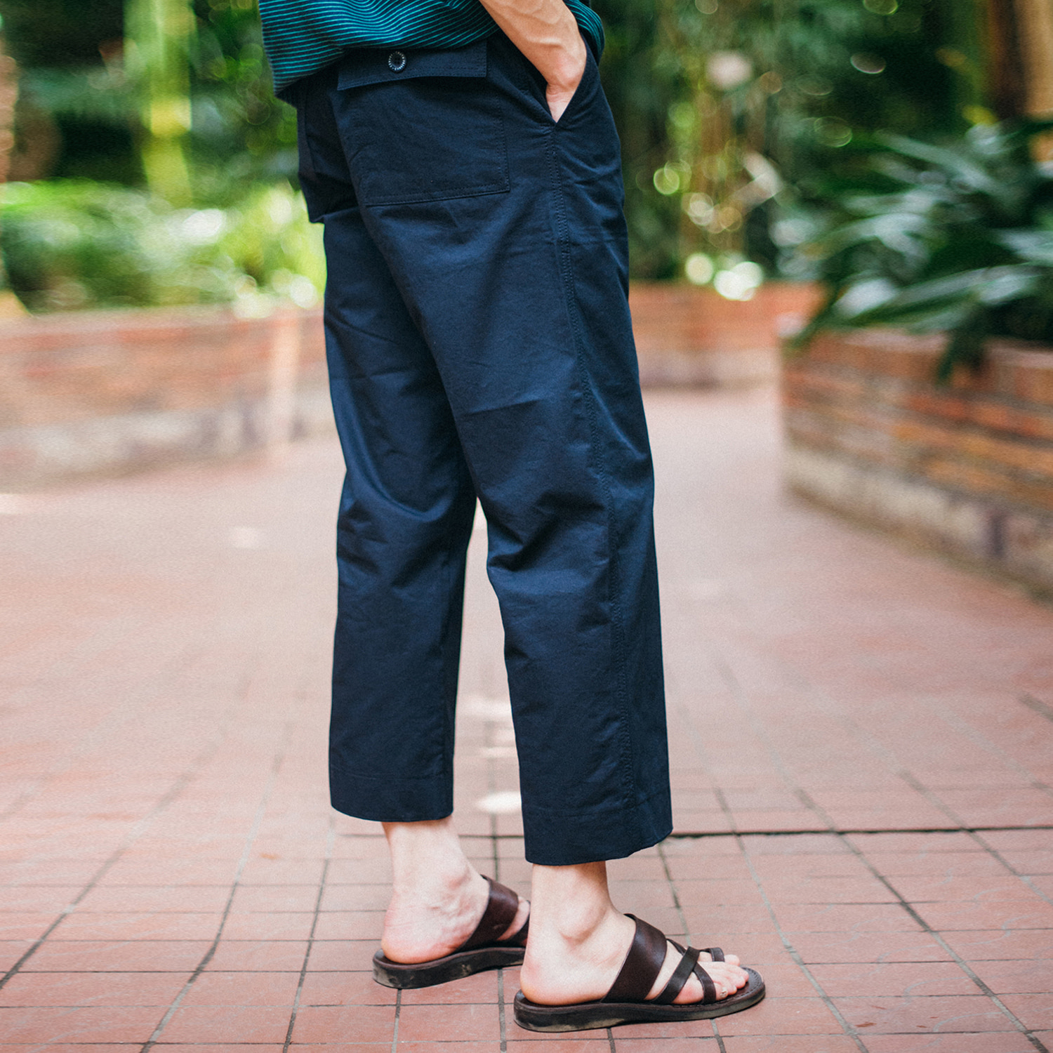 [콘보이]9/L d ring wide pants navy