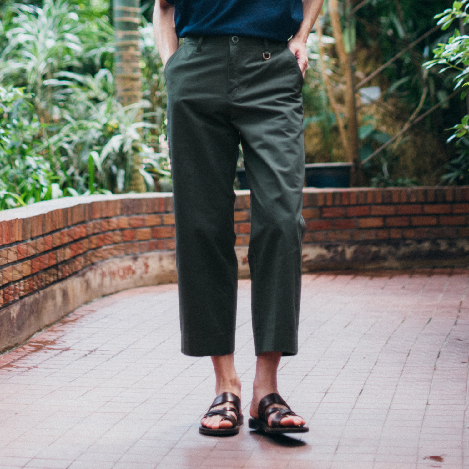 [콘보이]9/L d ring wide pants khaki