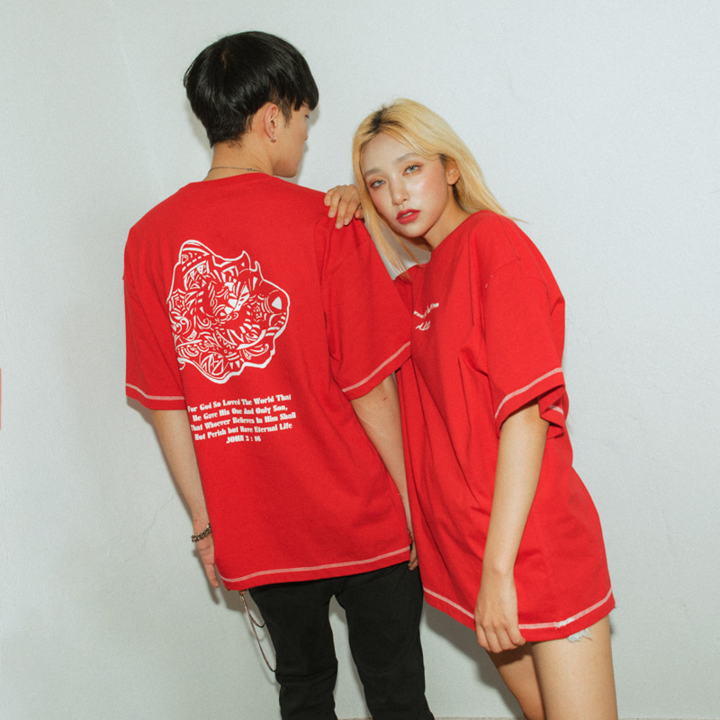 [에이클라운]Red Rose-Eye Stitch Half-Tee