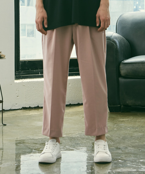 [에드]HALF BANDING SEMI WIDE PANTS PINK