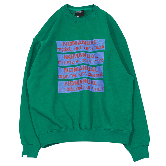 [노매뉴얼]CRACK LOGO ROUND SWEAT SHIRT - VIRIDIAN