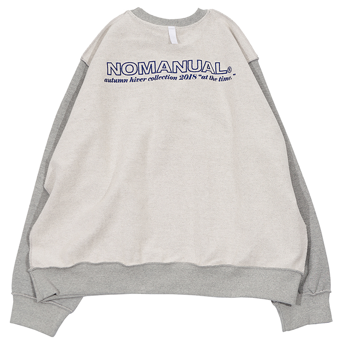[노매뉴얼]REVERSED SLOGAN SWEAT SHIRT - GREY 한정수량 세일