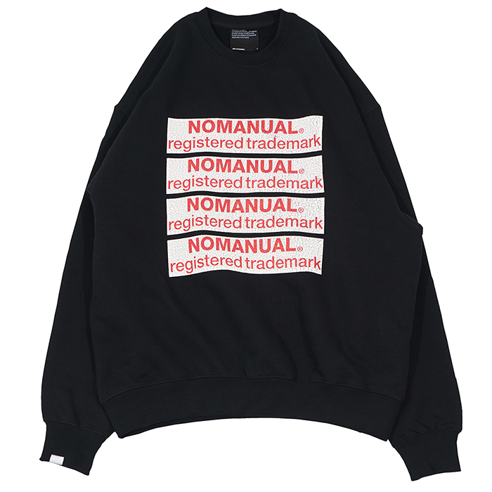 [노매뉴얼]CRACK LOGO ROUND SWEAT SHIRT - BLACK