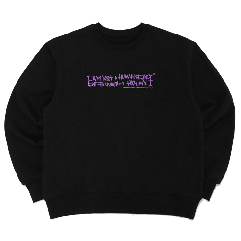 [아임낫어휴먼비잉] [18FW] AUTOGRAPH LOGO CREWNECK SWEATSHIRTS - BLACK/PURPLE