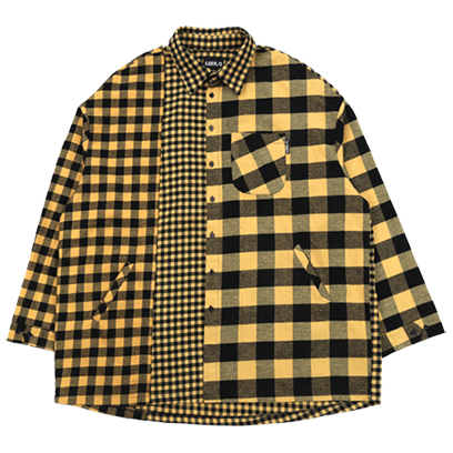 [아조바이아조]Over Twofold Check Shirt (Yellow)