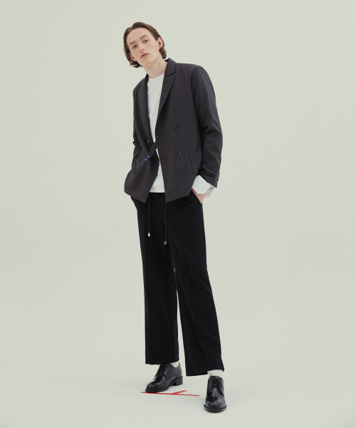 [트립르센스]HBT SLIT WIDE TRACK PANTS BLACK