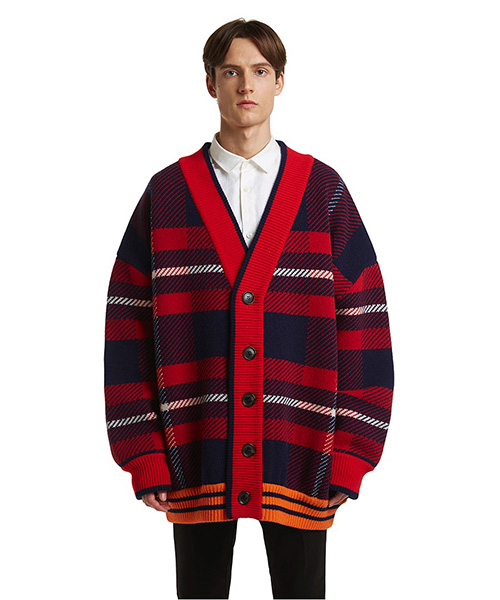 [트렁크프로젝트]Check Knit Cardigan Jacket red