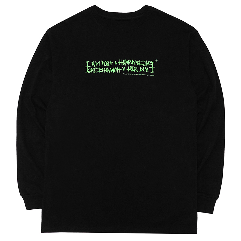 [아임낫어휴먼비잉] [18FW] AUTOGRAPH LOGO LONG SLEEVE T SHIRTS - BLACK/GREEN