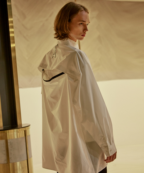 [에드]BACK SLIT TAPING SHIRTS IVORY