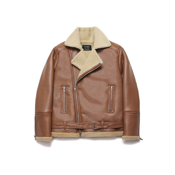 [라퍼지스토어]Over Size Rider Mouton Jacket_Rich Brown