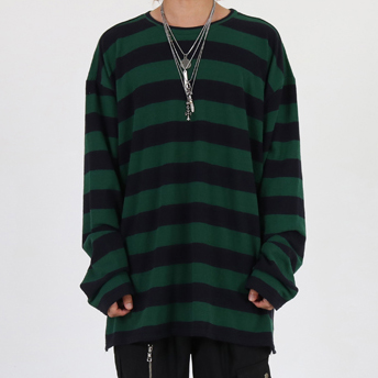 [이노반트]Round neck stripe over long sleeve (green)