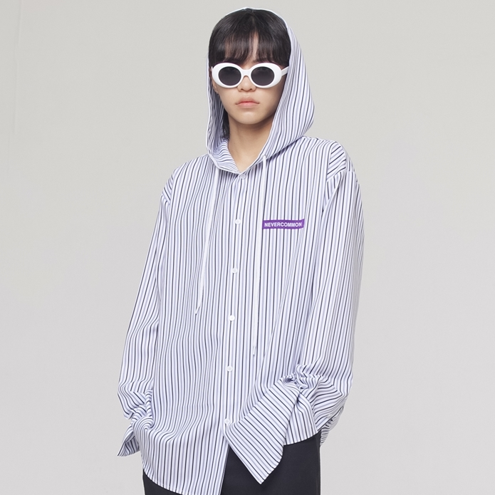 [네버커먼] stripe hood shirt (white)