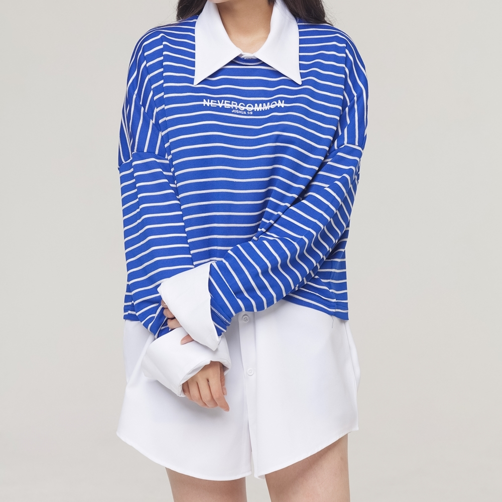 [네버커먼] stripe crop knit (blue)