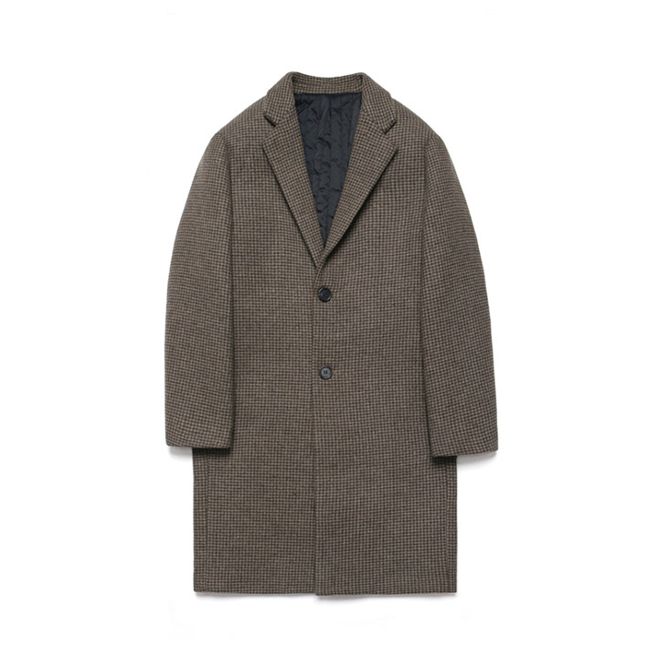 [라퍼지스토어]Wool Single Coat_Hound's tooth check Brown