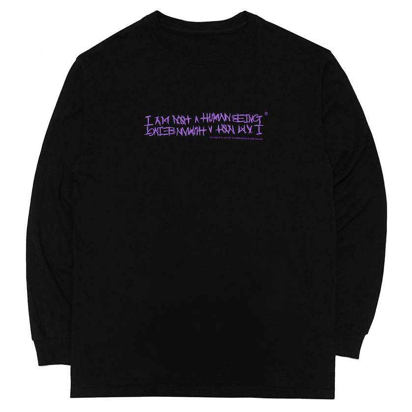[아임낫어휴먼비잉][18FW] AUTOGRAPH LOGO LONG SLEEVE T SHIRTS - BLACK/PURPLE