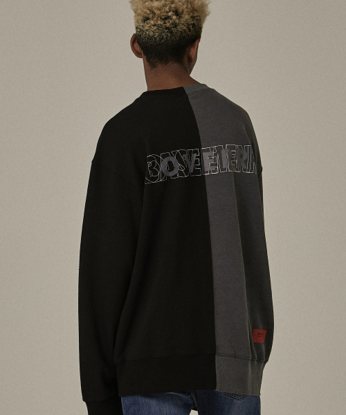 [오베르]18FW INCISION PIGMENT BLACK SWEATSHIRTS