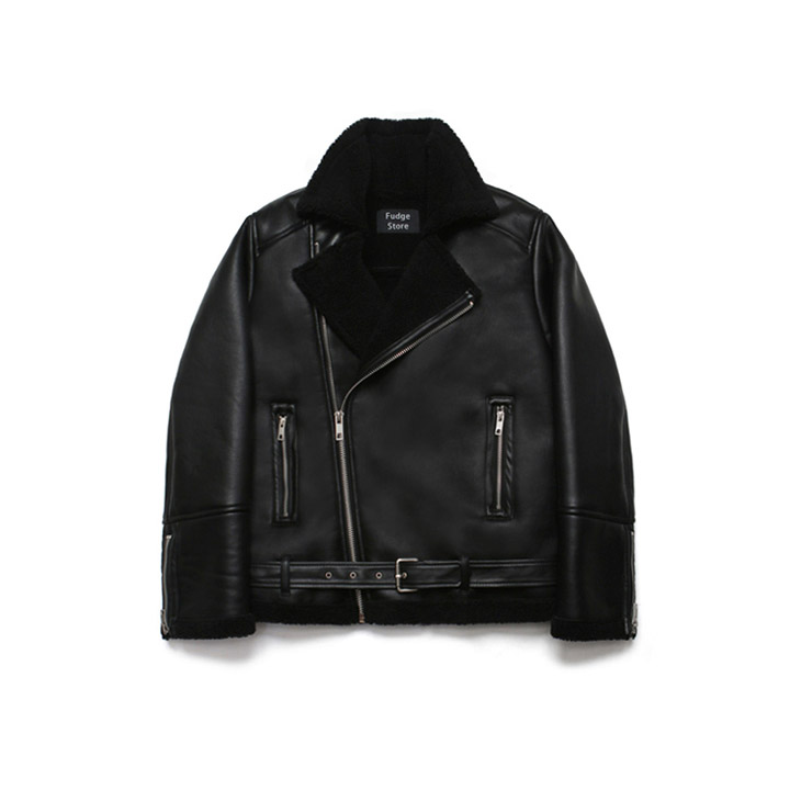 [라퍼지스토어]Over Size Rider Mouton Jacket_Rank Black