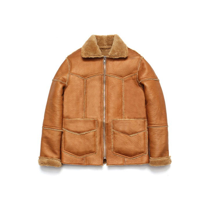 [라퍼지스토어]Patchwork Real Mouton Jacket_Camel
