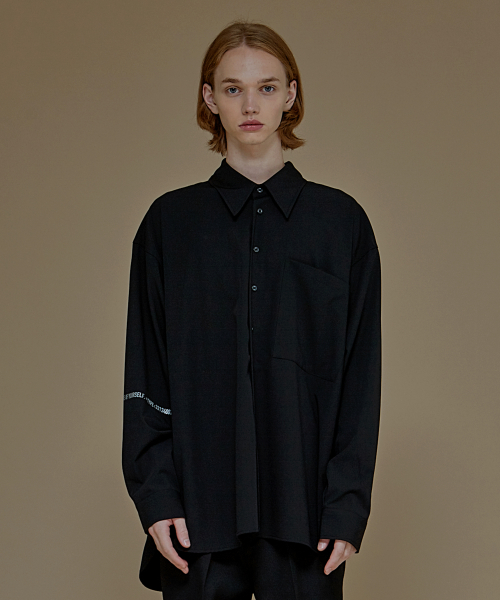 [에드]LETTERING WIDE COLLAR SHIRTS BLACK