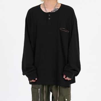 [이노반트]henley neck over long sleeve (black)