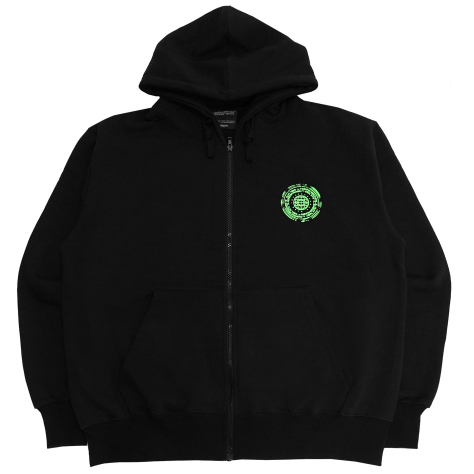 [아임낫어휴먼비잉] [18FW] OFFICIAL SEALED ZIP-UP HOODIE - BLACK/GREEN