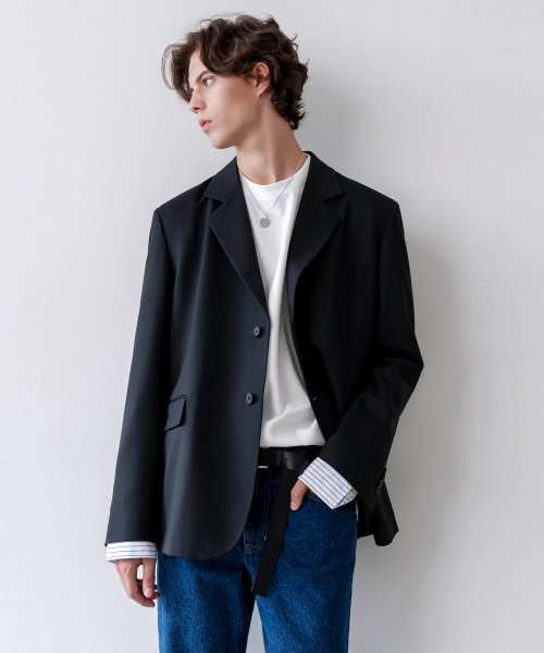 [인사일런스]OVERSIZED WOOL BLAZER (black)