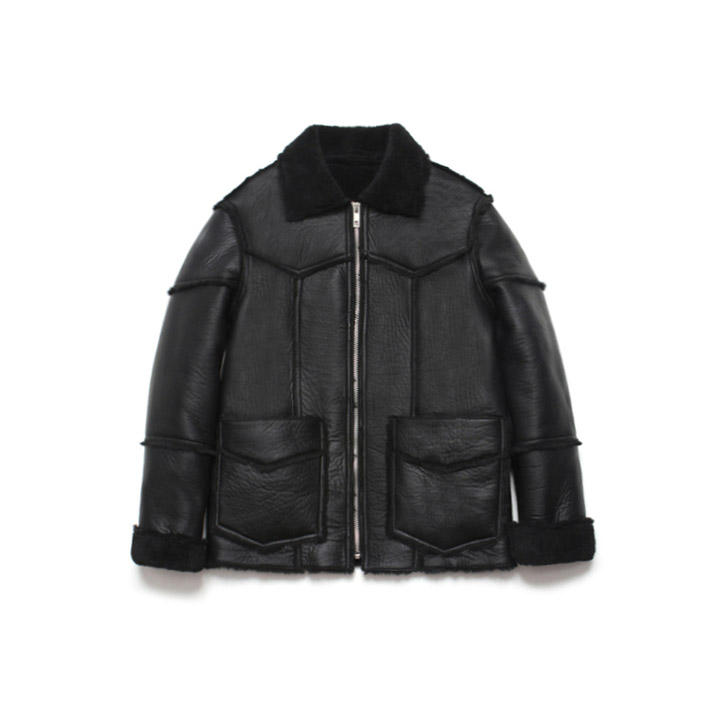 [라퍼지스토어]Patchwork Real Mouton Jacket_Black