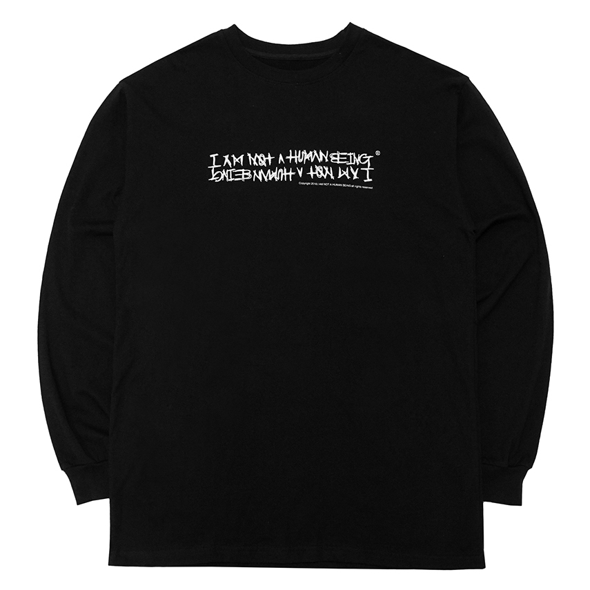 [아임낫어휴먼비잉] [18FW] AUTOGRAPH LOGO LONG SLEEVE T SHIRTS - BLACK/WHITE
