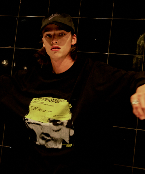 [에드]AFTERIMAGE DOUBLE SLEEVE TEE BLACK 한정수량 세일