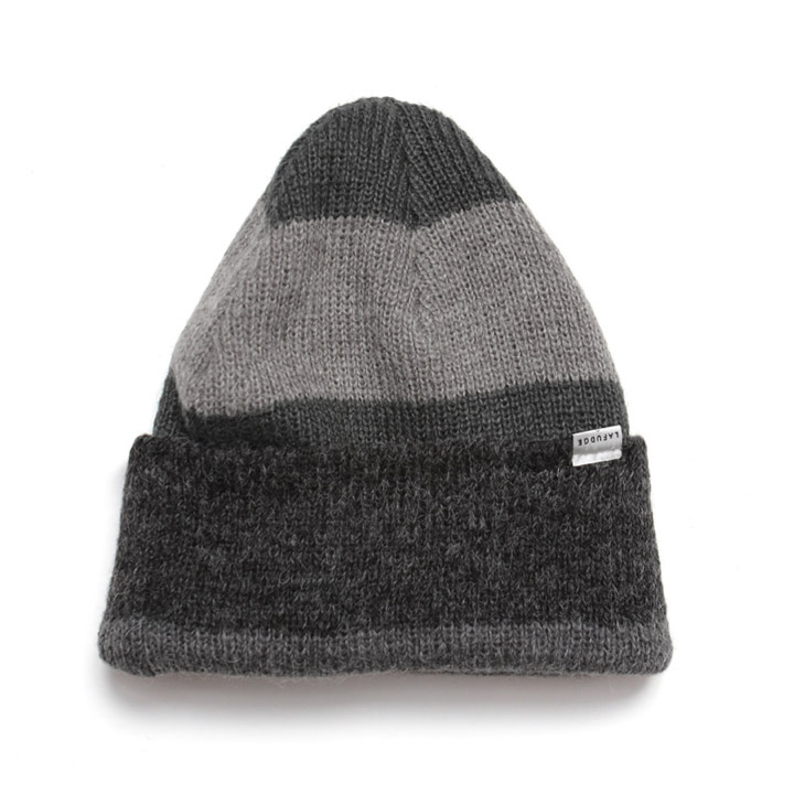 [라퍼지스토어]Angora Stripe Long Beanie_Gray
