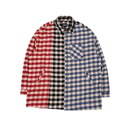[아조바이아조]Tri Gingham Check Shirt [Red/Black/Blue]