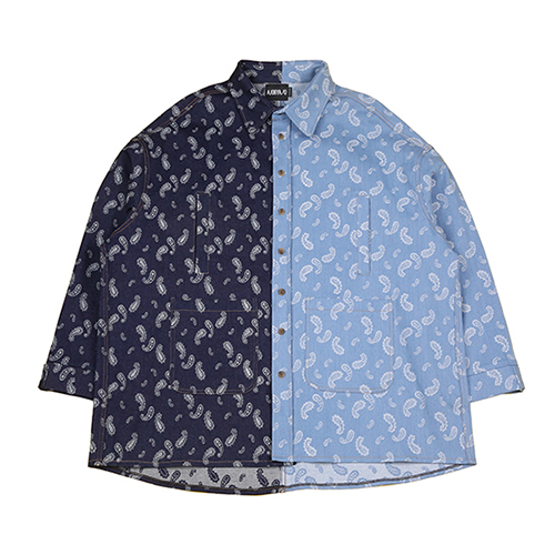 [아조바이아조]Paisley Jacquard Denim Jacket [Blue]