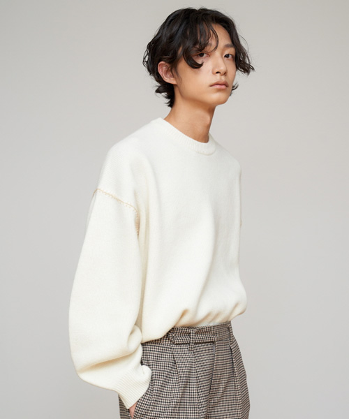[에스티유]Stitch overfit wool knit cream (SOLD OUT)