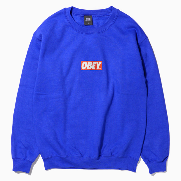 [오베이]OBEY BAR LOGO - ROYAL BLUE  크루넥