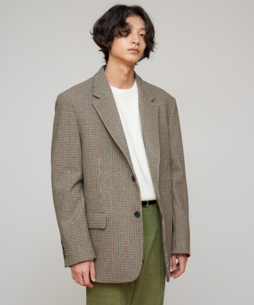 [에스티유]2 Button overfit check blazer [합포 x 버전]