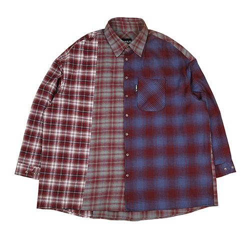 [아조바이아조]Tri Check Shirt [Burgundy]